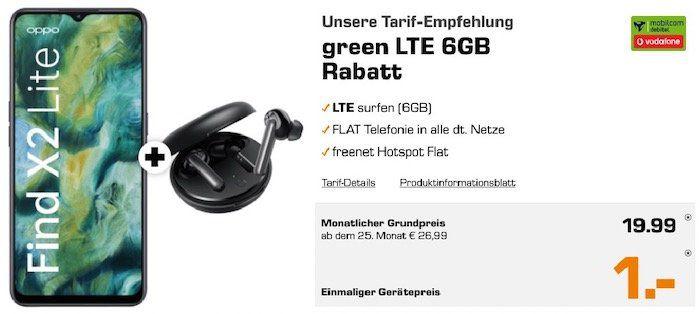 Oppo Find X2 lite & Oppo Enco W31 für 1€ + Vodafone Flat mit 6GB LTE für 19,99€mtl.