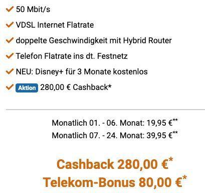 Telekom Magenta Zuhause M mit 50 Mbit/s ab eff. 19,95€ mtl. dank 280€ Cashback + 80€ Telekom Bonus
