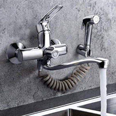 Dalmo Wasserhahn Wandarmatur mit Spritzpistole inkl. 2 Wasserstrahlarten und schwenkbarem 360° Auslauf für 42,74€ (statt 57€)