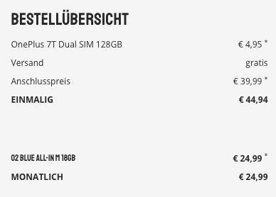 OnePlus 7T mit 128GB für 4,95€ + o2 Flat mit 18GB LTE für 24,99€mtl.