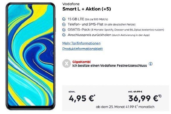 Xiaomi Redmi Note 9S für 4,95€ + 360€ Cashback + Vodafone Flat mit 15GB LTE für 36,99€mtl.