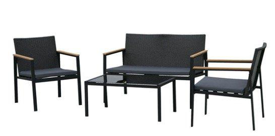 Outsunny Garten Sitzgruppe 4 teilig mit Bank, 2 Sesseln und Tisch für 134,91€ (statt 178€)