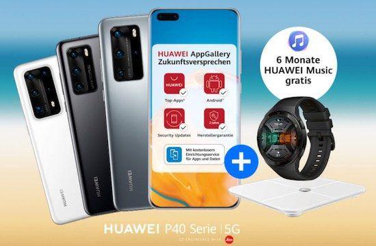 Huawei P40 Pro + Watch GT 2E + Körperfettwaage für 49€ + Vodafone Flat mit 15GB LTE für 36,99€ mtl.