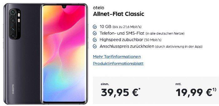 Xiaomi Mi Note 10 Lite 128GB für 39,95€ + Vodafone Allnet Flat inkl. 10GB LTE für 19,99€ mtl.