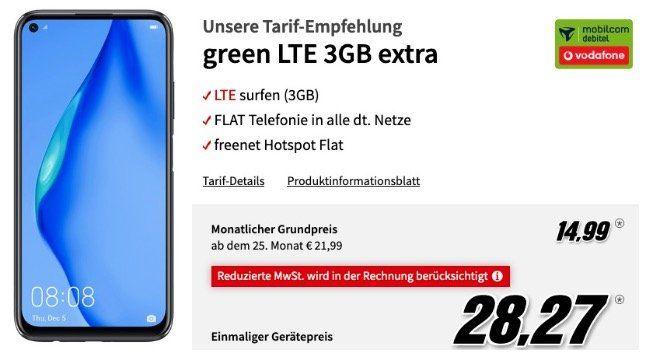 Huawei P40 lite für 28,27€ + Vodafone Flat mit 3GB LTE für 14,99€ mtl.