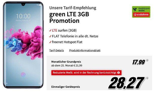 ZTE Axon 11 128GB für 28,27€ mit Vodafone Allnet Flat mit 3GB LTE für 17,99€ mtl.