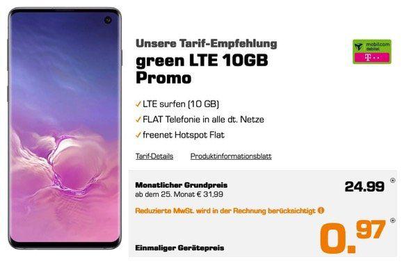Samsung Galaxy S10 für 0,97€ + Vodafone Flat mit 10GB LTE für 24,99€ mtl.