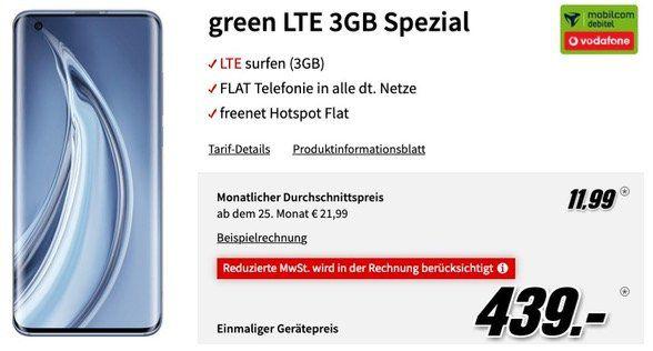 🔥 Xiaomi Mi 10 Pro 256GB (Vergleich 954€) für 439€ + Vodafone Flat mit 3GB LTE für 11,99€ mtl.