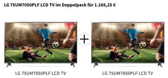 KNALLER! 2x LG 75UM7050PLF   75 Zoll UHD Fernseher mit HDR10 Pro für 1.266,25€ (statt 1.614€)
