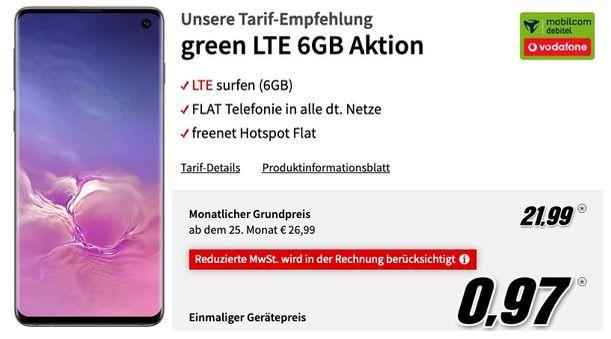 Samsung Galaxy S10 mit 128GB für 0,97€ + Vodafone Flat mit 6GB LTE für 21,99€mtl.