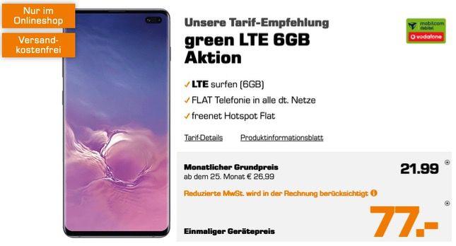 Samsung Galaxy S10 Plus für 77€ mit Vodafone Allnet Flat mit 6GB LTE für. 21,99€ mtl.