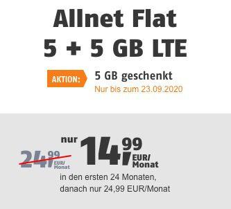 Allnet Flat von klarmobil im Telekom Netz mit 10GB LTE für 14,99€(statt 24,99€)   oder Vodafone nur 11,99€