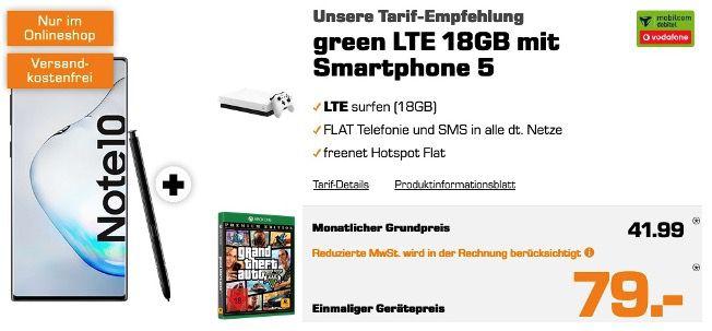 Galaxy Note 10 + Xbox One X 1TB + GTA5 für 79€  mit Vodafone Flat mit 18GB LTE für 41,99€ mtl.