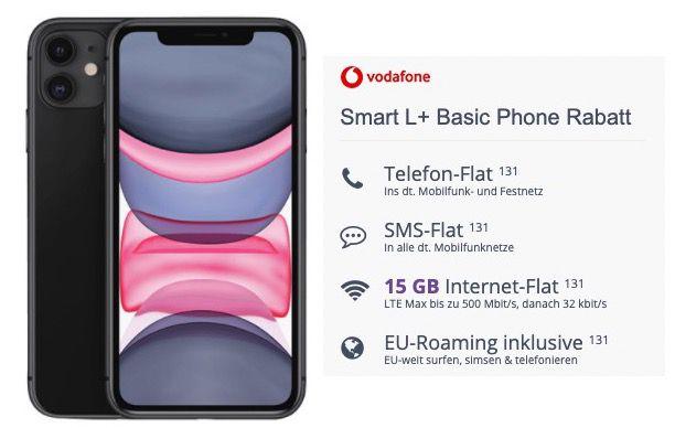 Apple iPhone 11 für 3,99€ + Vodafone Flat mit 15GB LTE für 36,99€ mtl.
