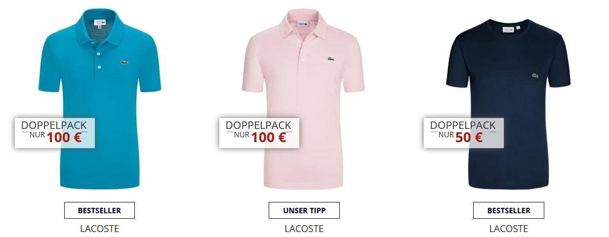 Hirmer Sale bis 50% Rabatt auf Top Marken + 10€ Gutschein   z.B. Doppelpack Lacoste Polos ab 90€ (statt 130€)