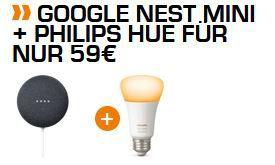Google Nest mini + Hue E27 White LED Lampe für 59€ (statt 73€)