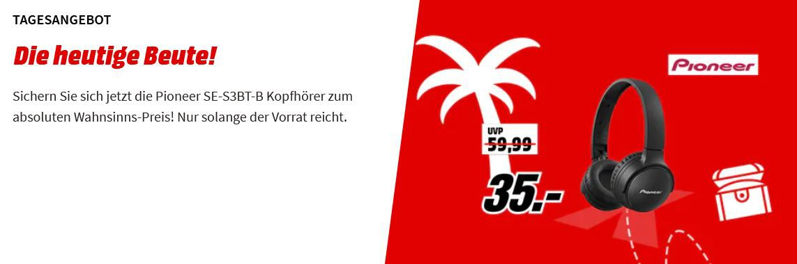 PIONEER SE S3BT B Bluetooth Kopfhörer ab 35€ (statt 49€)