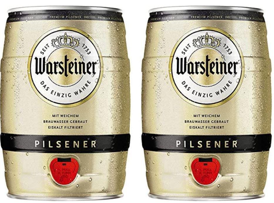 Warsteiner Premium Pilsener Fass 2er Pack, (2 x 5 Liter) für 16,99€ (statt 21€)
