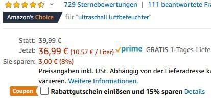 TaoTronics Ultraschall Luftbefeuchter mit 3,5l Wassertank für 24,99€ (statt 37€)