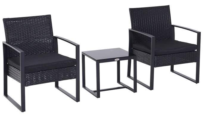 Outsunny Polyrattan Sitzgruppe (Couchtisch + 2 Stühle + 2 Kissen) für 119,99€ (statt 199€)
