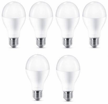 6er Pack Philips LED Lampe 18,5 Watt (ersetzt 120 W) E27 Warmweiß für 18,14€ (statt 42€)
