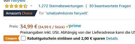 Fairywill elektr. Schallzahnbürste mit 8 Aufsteckbürsten für 17,24€ (statt 35€)