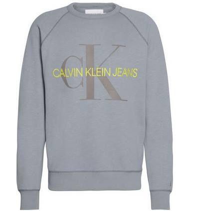 Calvin Klein Pullover Vegetable Dye Monogram in Grau für 39,95€ (statt 58€)