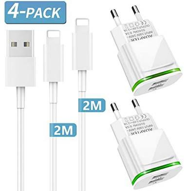 2x PICILOO USB Ladegerät + 2x 2m Lightning Kabel für 7,99€   Prime