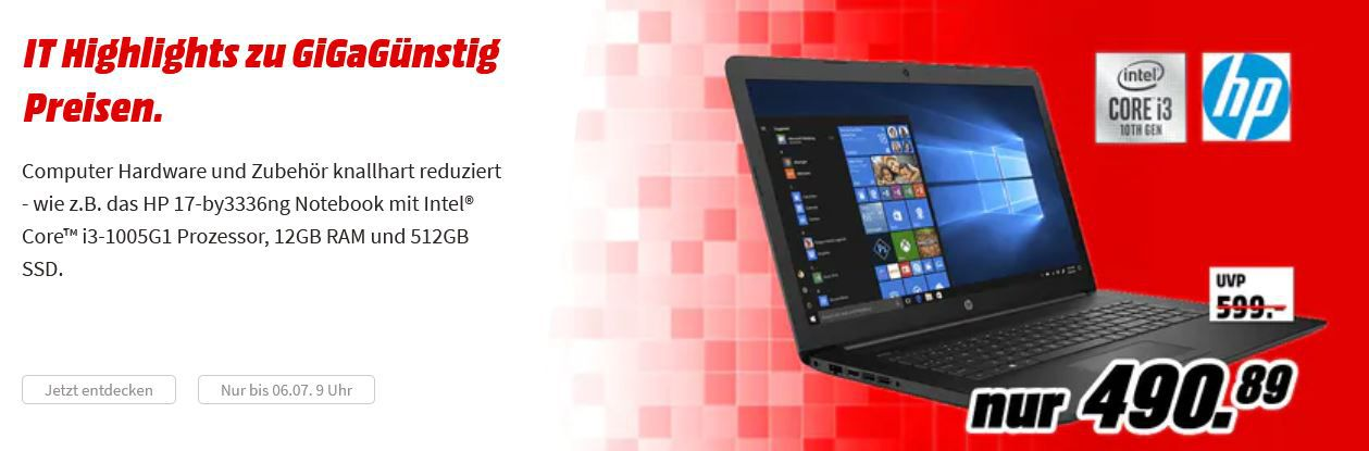 Media Markt GiGaGünstig Sale: günstige PCs u. Hardware z.B. SEAGATE IronWolf 4 TB 3.5 HDD intern ab 98,20€ (statt 118€)*