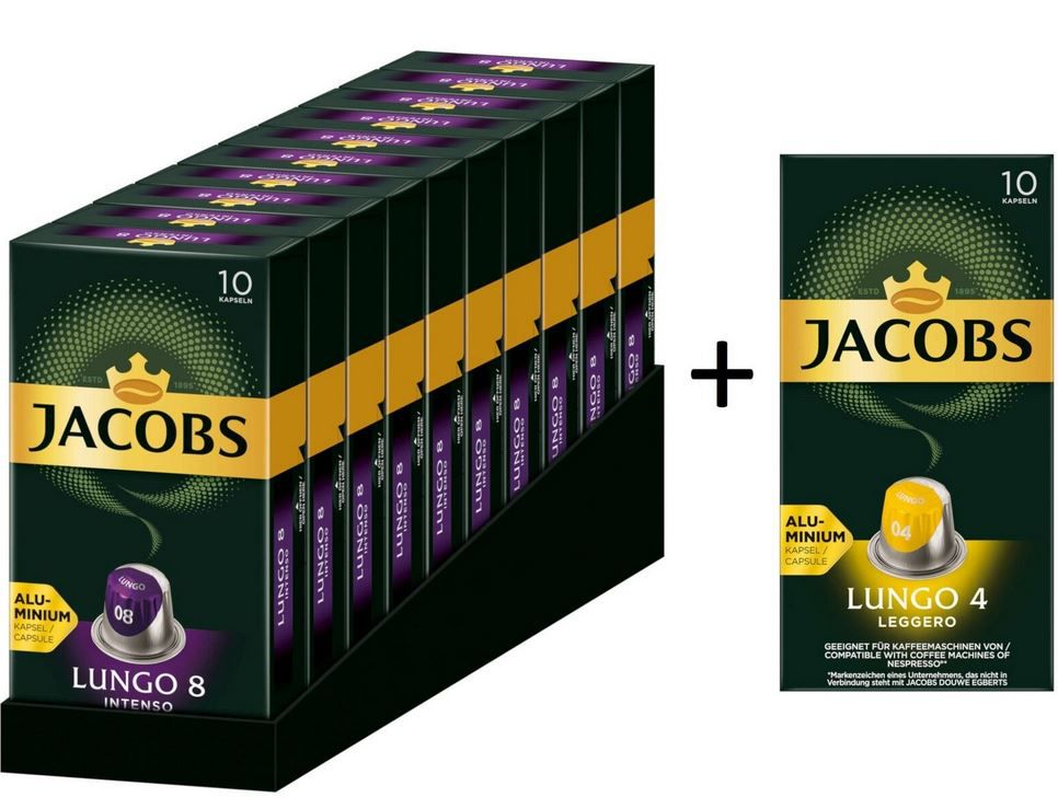 JACOBS Nespresso Kapseln: 100 Lungo 8 Intenso + 10 Lungo 4 Leggero für 19,95€ (statt 30€)