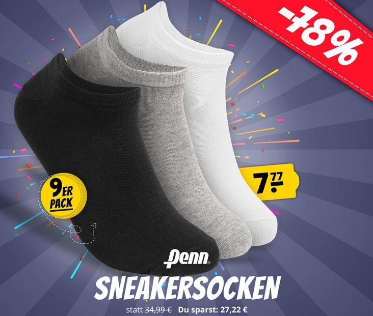 Penn Sneaker Socken 40 46 im 9er Pack für 11,72€  (statt 19€)