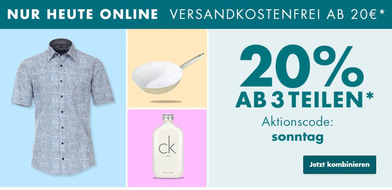 Galeria Sonntags Schätze bis Mitternacht: 20% Rabatt auf viele Rubriken ab 3 Teilen   VSK frei ab 20€