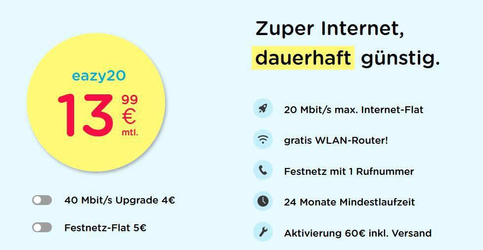 eazy Internet Zugang (Vodafone) mit 20 Mbit/s für 13,99€ mtl.   oder 40 Mbit/s für 17,99€