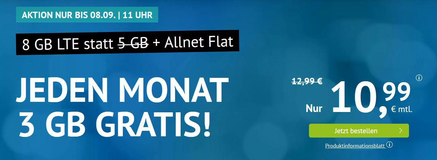 o2 AllNet & SMS Flat + 8GB LTE (max 50MBit/s) für 10,99€ mtl. (optional mtl. Kündbar)