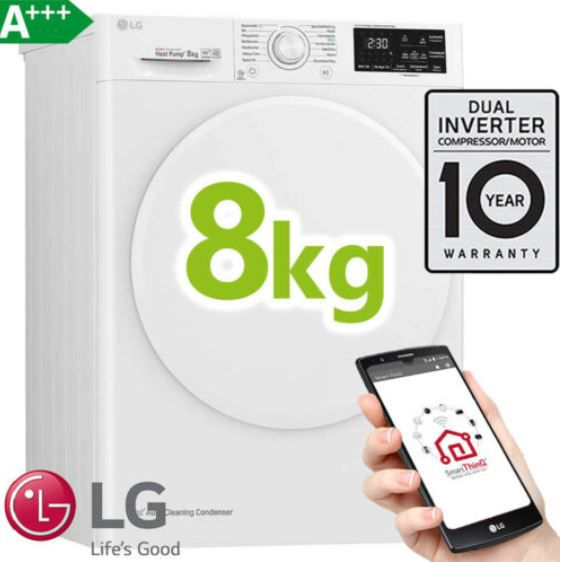 LG RT8DIHP   8kg Inverter Wärmepumpentrockner A+++ für 449,99€ (statt 529€)