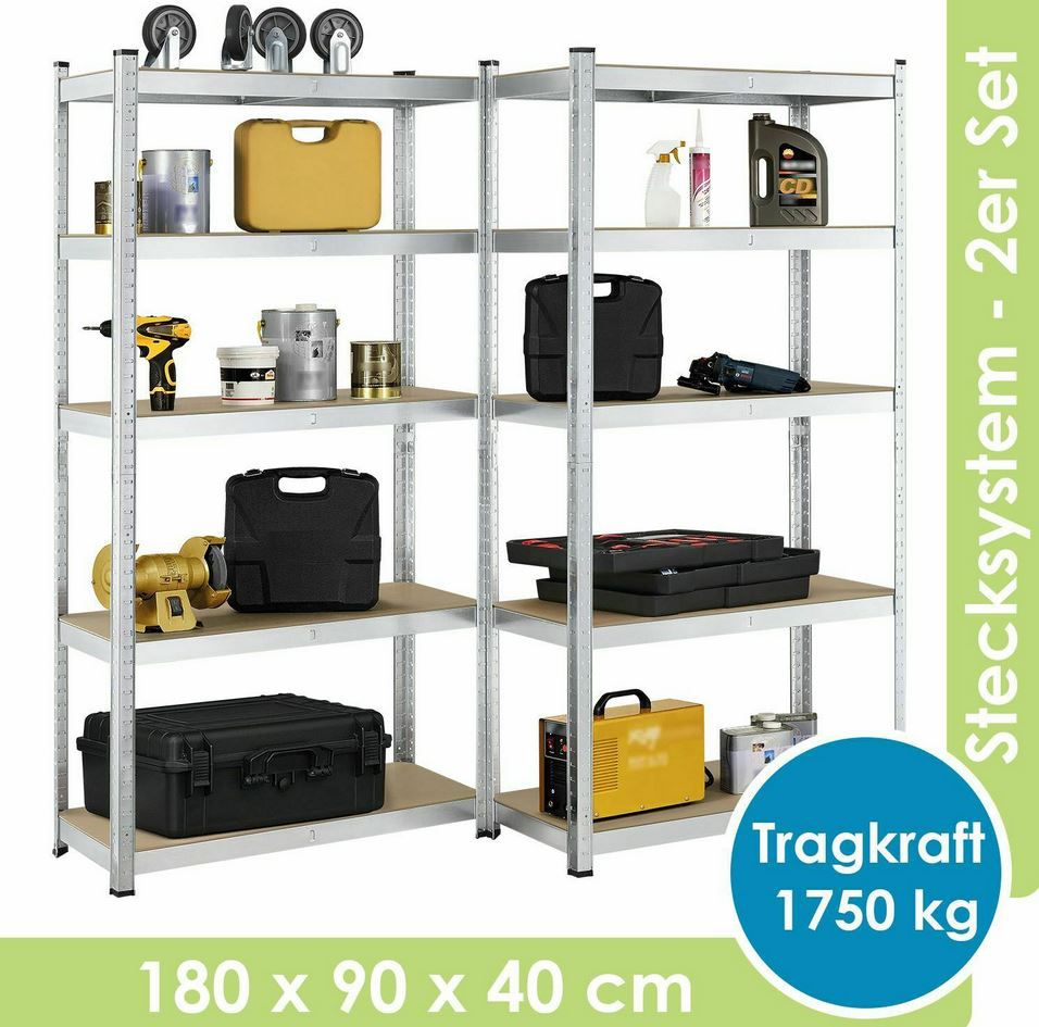 Juskys 21096   Doppelpack Schwerlastregale (max. 1.750kg) für 37,15€ (statt 43€)
