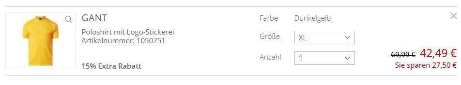 Gant Piqué Poloshirt mit Logo Stickerei für 42,49€ (statt 55€)