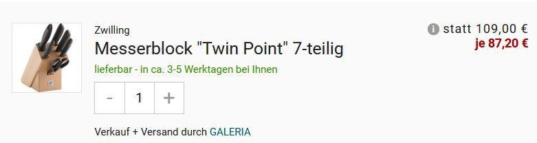 ZWILLING Twin Point Messerblock 7teilig mit Schere für 87,20€ (statt 125€)