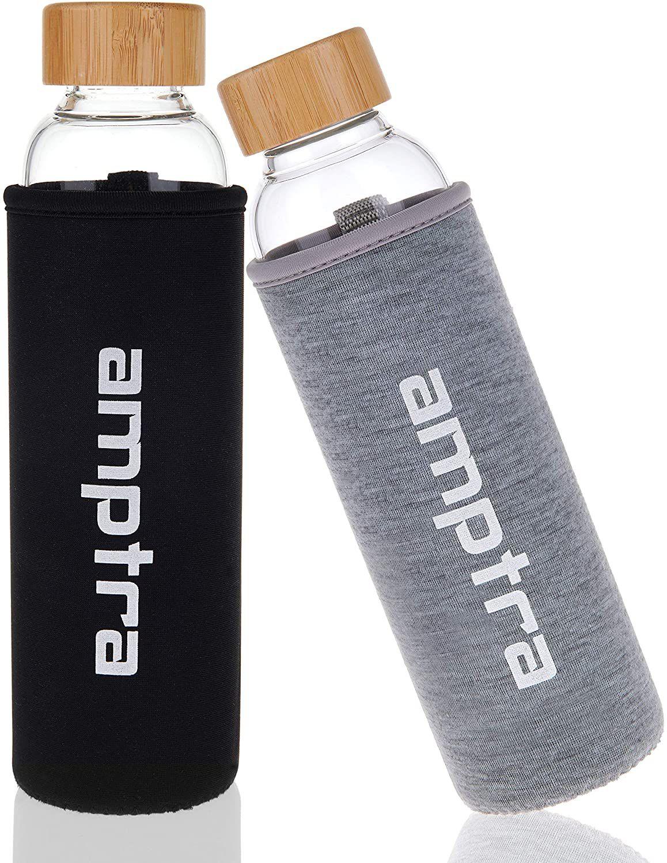 amptra Trinkflasche aus Glas inkl. Neopren Schutzhülle 550ml für 8,89€ (statt 13€)