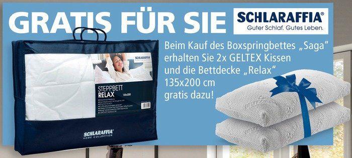 Schlaraffia Boxspringbett Saga (180x200) in Anthrazit inkl. 2 Kissen + Relax Decke für 1.490,43€ (statt 2.198€)