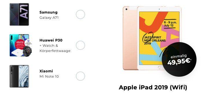 Apple iPad (2019) 32GB WiFi für 49,95€ + Telekom Flat von Congstar mit 8GB LTE für 19,50€ mtl.