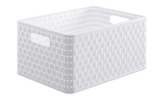 3x Rotho Country Aufbewahrungskiste 18 Liter in Rattan Optik Weiß für 17,99€ (statt 23€)