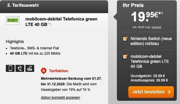 iPad 2019 für 29,95€ oder Nintendo Switch 2019 für 19,95€ + o2 Flat mit 40GB LTE für 29,99€ mtl.