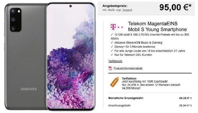 Young MagentaEins: Samsung Galaxy S20 5G für 95€ + 100€ Cashback + Telekom Flat mit 12GB LTE + StreamOn für 29,95€mtl.