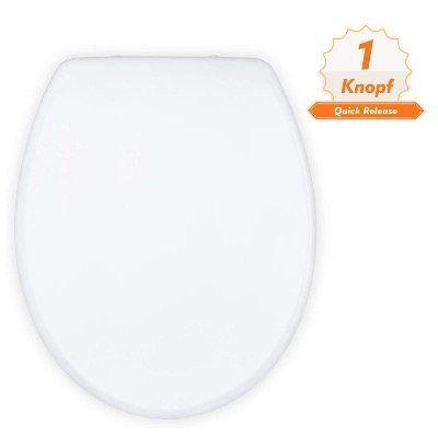 Dalmo Toiletten Sitz in klassischer O Form aus antibakterielle Duroplast und Edelstahl für 23,99€ (statt 37€)