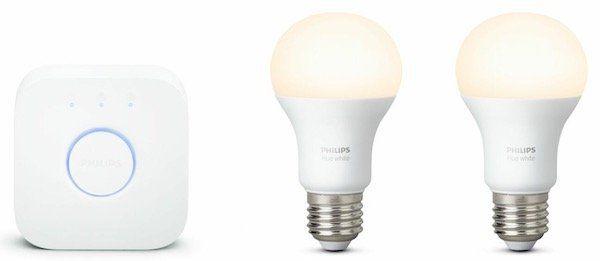 Philips Hue White Starter Kit 2 x E27 Lampen + Hue Bridge für 49,99€ (statt 68€)
