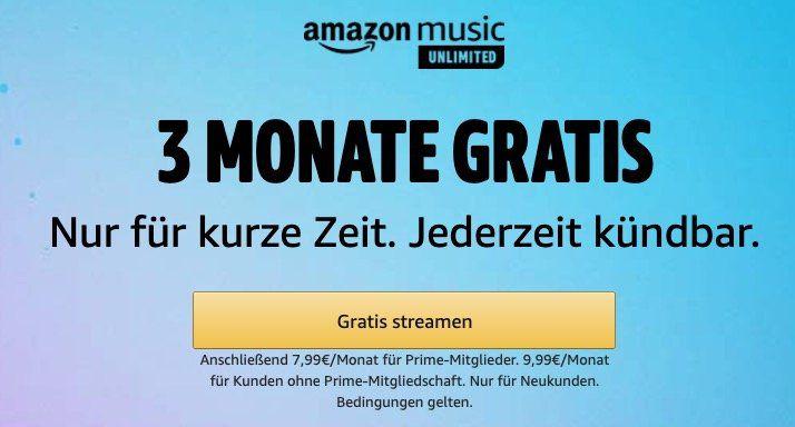 Endet heute: 3 Monate Amazon Music Unlimited (inkl. Bundesliga) gratis   aber nur für Neukunden