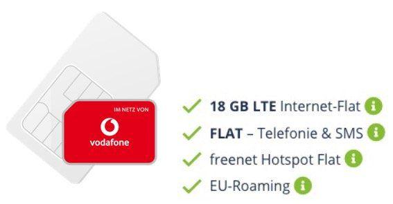 Allnet Flatrate im Netz von Vodafone mit 18GB LTE 50MBit für 19,99€ monatlich + 100€ MM Gutschein
