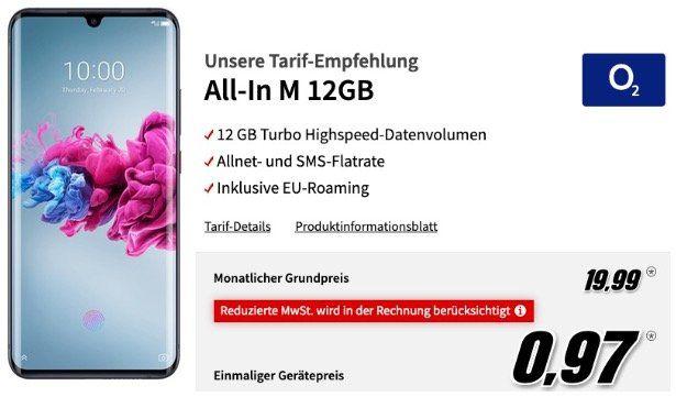 ZTE Axon 11 mit 128GB für 0,97€ + O2 Flat mit 12GB LTE50 für 19,99€ mtl.