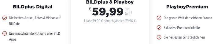 1 Jahr BILDplus Digital & PlayboyPremium nur 59,99€ (statt 220€)   ohne Playboy 12 Monate 3,99€ mtl.
